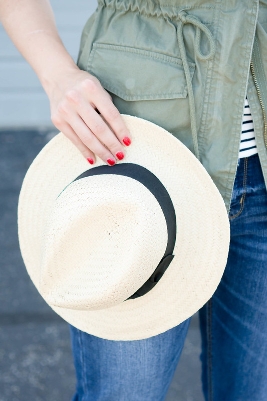 green vest + stripe tee + straw hat + boyfriend jeans, summer outfit | Style On Target