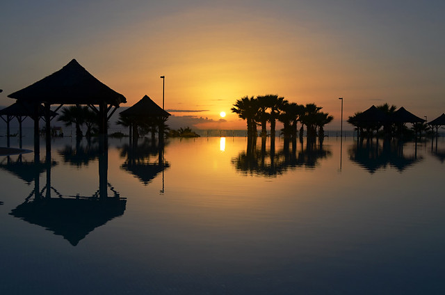 Sunset over Infinity pool, Gran Melia Palacio de Isora, Alcala, Tenerife