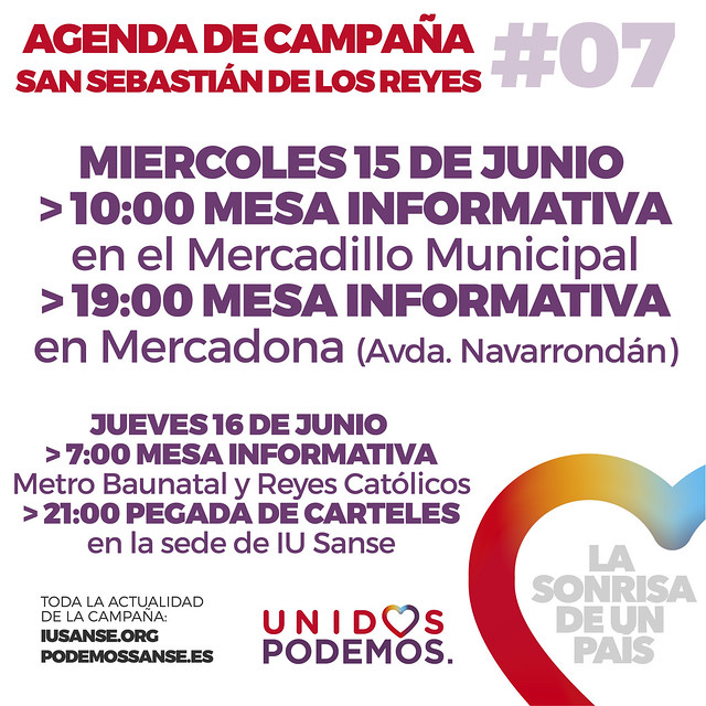 Agenda de Campaña #UnidosPodemos San Sebastián de los Reyes para las elecciones del 26J - Días 15 y 16 de Junio