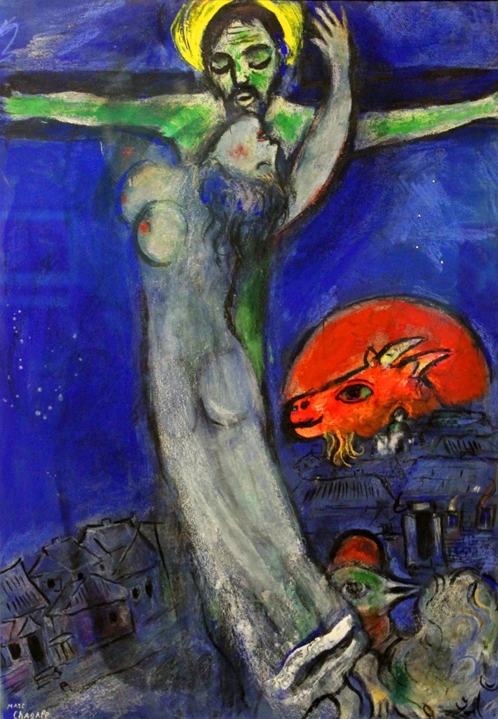 Crucifixion under a Blue Sky with Red Goat | Crucifixion ... Chagall Crucifixion