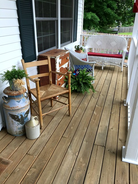 patriotic furniture on front porch