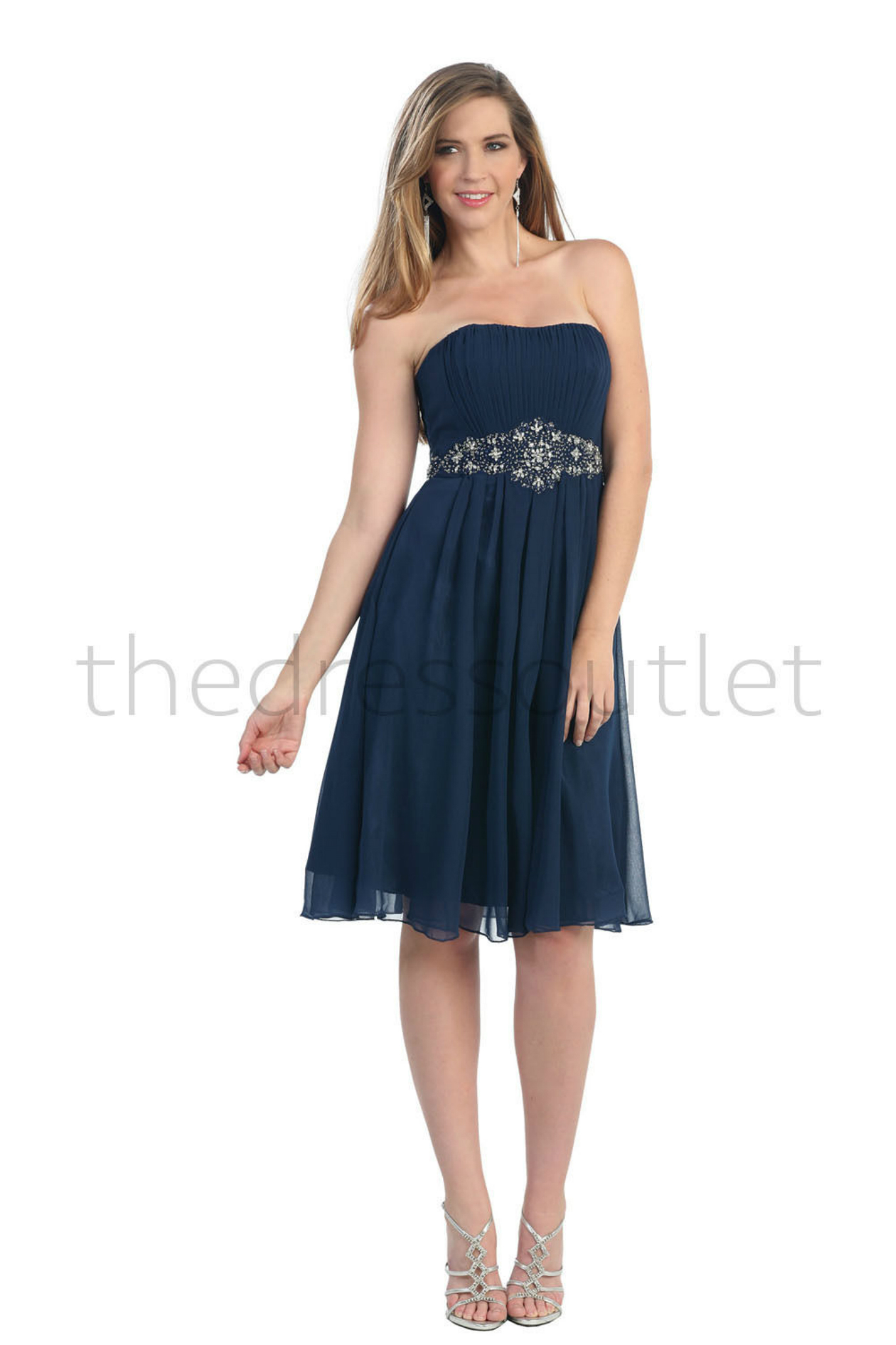 Modest Bridesmaid Strapless Beaded Sequins Pleated Chiffon