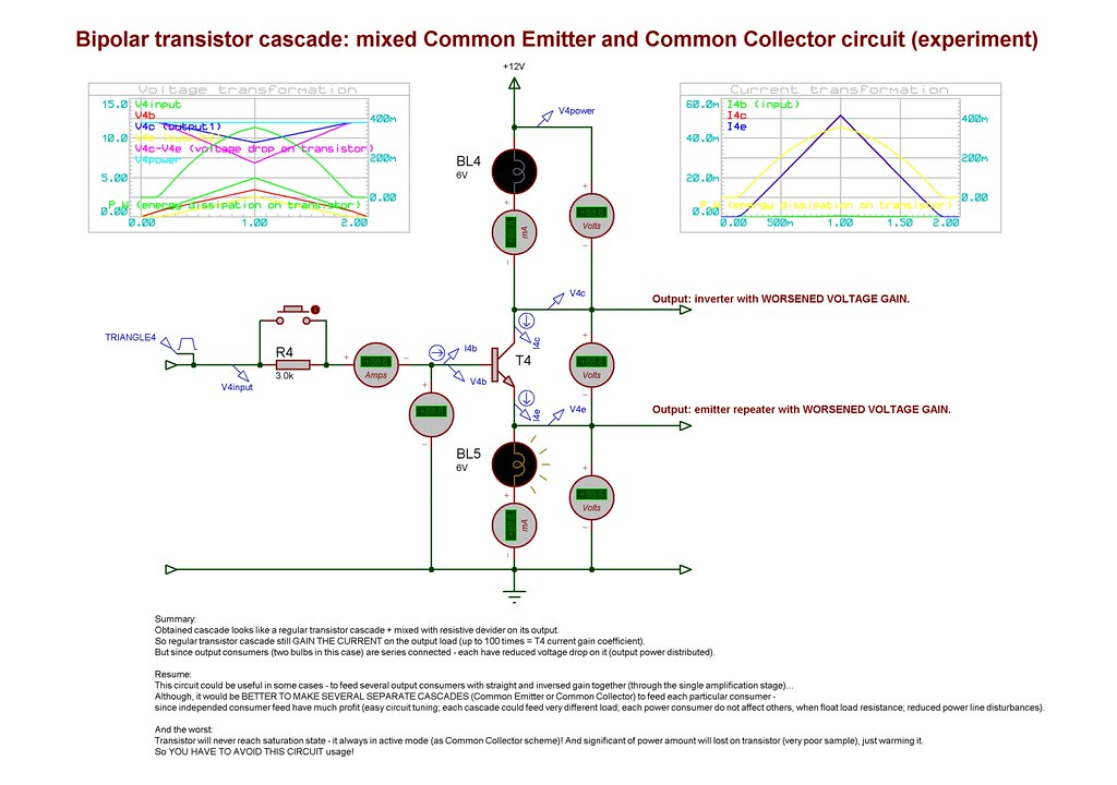 Bipolar transistor cascade: mixed Common Emitter and Common Collector circuit (experiment)