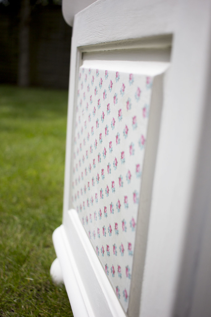 decoupaged bedding box side panel