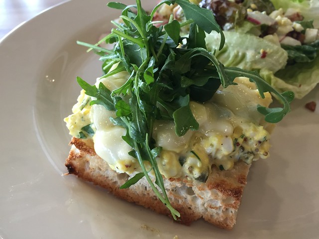 Open faced warm organic egg salad sandwich - Red Dog Restaurant