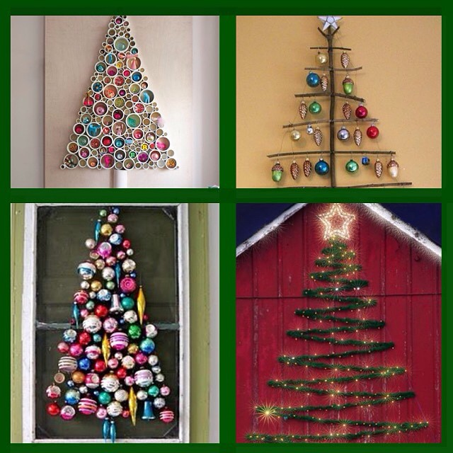A few christmas wall trees and non traditional decorations for Non traditional christmas tree ideas