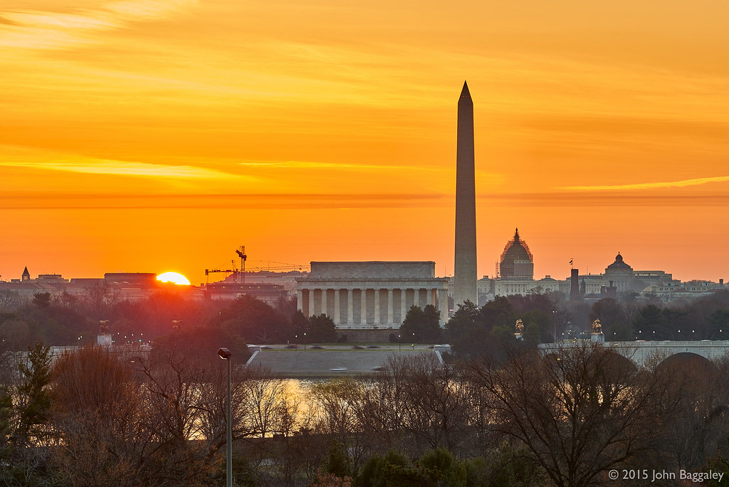 Dc Skyline Sunrise The Sun Peaks Up From Below The