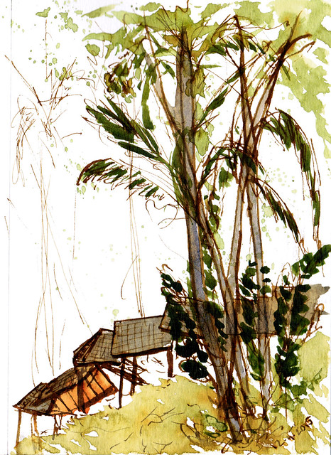 An ink and watercolor sketch of a walking path I stumbled across in Singapore