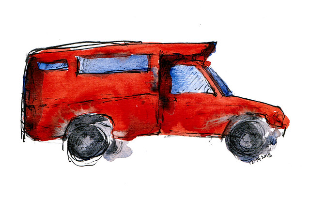 An ink and watercolor sketch of a songthaew, which is a kind of red truck that functions as sort of a cross between a bus and a taxi in Thailand.