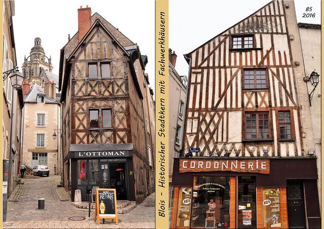 Blois - eine lebhafte und malerische Stadt an der Loire. In einigen Reiseführern auch als Touristen-Hauptstadt des Loire-Tales bezeichnet. Wir befinden uns im französischen Département Loir-et-Cher. Hauptanziehungspunkt: das königliche Schloss. Im historischen Stadtkern: alte Straßen und Fachwerkhäuser. Es gibt einige bedeutende Kirchen, zum Beispiel die Kathedrale Saint-Louis, die Bischofssitz ist. Die Stadt wurde auf mehreren Hügeln errichtet, ganz typisch sind deshalb auch die vielen Treppen. Zuerst ein kleines Croissant-Frühstück - und dann geht's los mit der Stadterkundung. Hier mein kleiner fotografischer Bilderreigen. Fotos und Fotocollagen: Brigitte Stolle Juni 2016