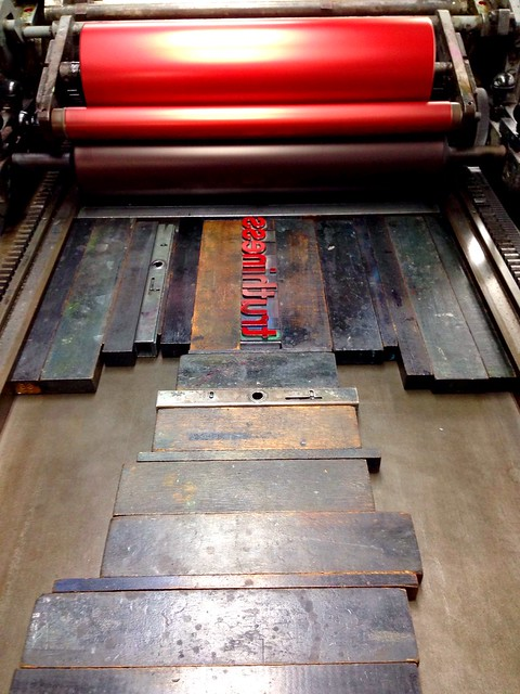 I finally printed my word this week in my Letterpress class. It's amazing how much prep is needed before you print and then how quickly printing takes.