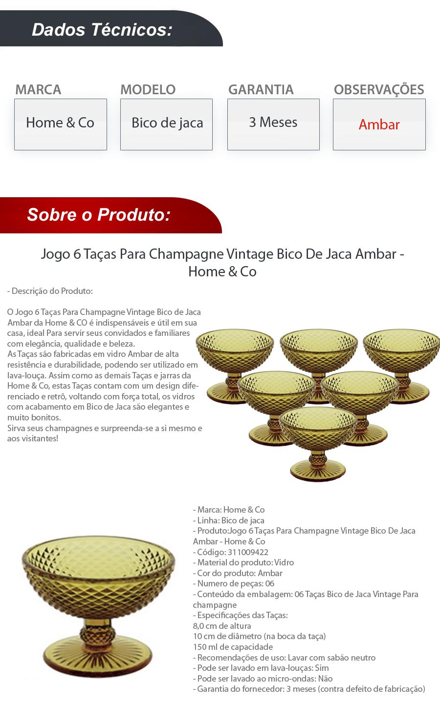 Jogo 6 Taças Champagne Vintage Bico De Jaca Ambar Home & Co