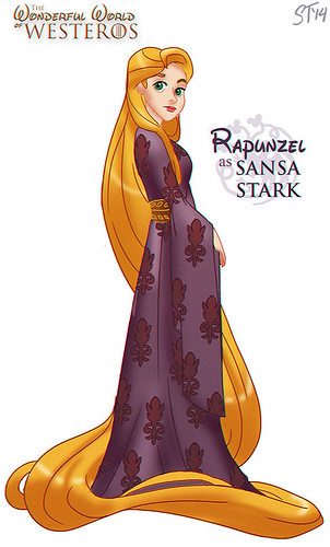 Disney Princesses vs Game of Thrones by DjeDjehuti - Rapunzel as Sansa Stark