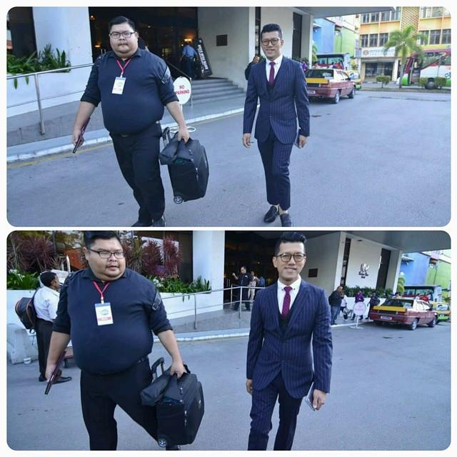 Ditemani My Bodyguard Yang Bertugas @Cyrillhassan. Thanks!  Bersiap Sedia Ke Borneo Convention Centre Kuching, Sarawak Untuk Malam Gala Aiffa 2015.  Terima Kasih Sudi Menjadi Penaja Suit Lengkap Untuk Budiey Pakai Masa Aiffa2015. Sacoor Brothers Is Awesom