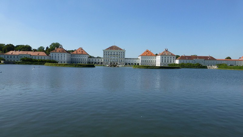 Nymphenburg Palace from across the pond. The red roof looks amazing against the blue sky