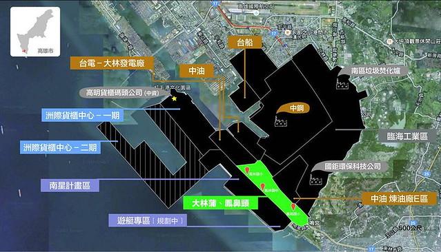 大林蒲所在地(中間綠色)被各種工業開發所包圍 圖片來源:要健康婆婆媽媽團邱春華