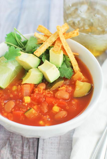 Veggie Tortilla Soup with Quinoa