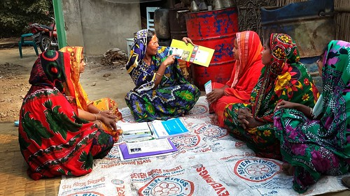 Woman advising others on safe practices