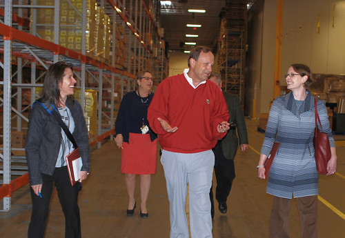 Professor Jill Clark (left) from Ohio State University, Mid-Ohio Food Bank CEO Matt Habash (center) and Administrator Starmer (right), are joined by Vice President Marilyn Tomasi and Ohio Rural Development State Director Tony Logan for a tour of the food bank warehouse