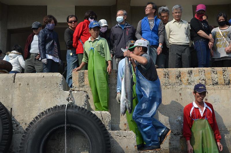 許多人在港邊等待漁船歸港,搶購新鮮魚貨。攝影:潘佳修。