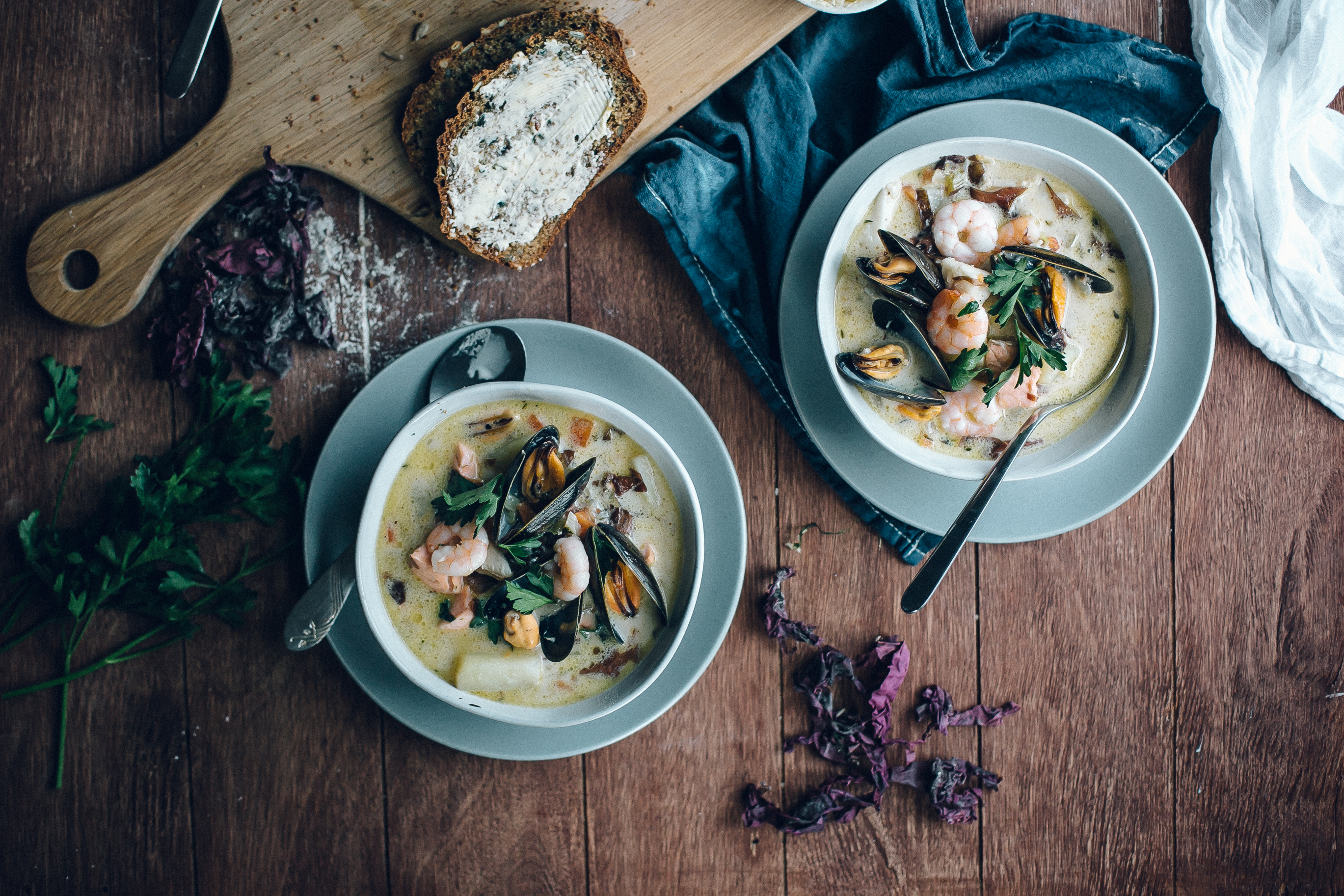 Seafood Chowder With Dillisk & Seed Brown Bread