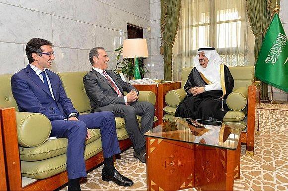 Con il Governatore di Riad, fratello del Re. Discussi interessi ditte Italiane all'opera per modernizzare la città