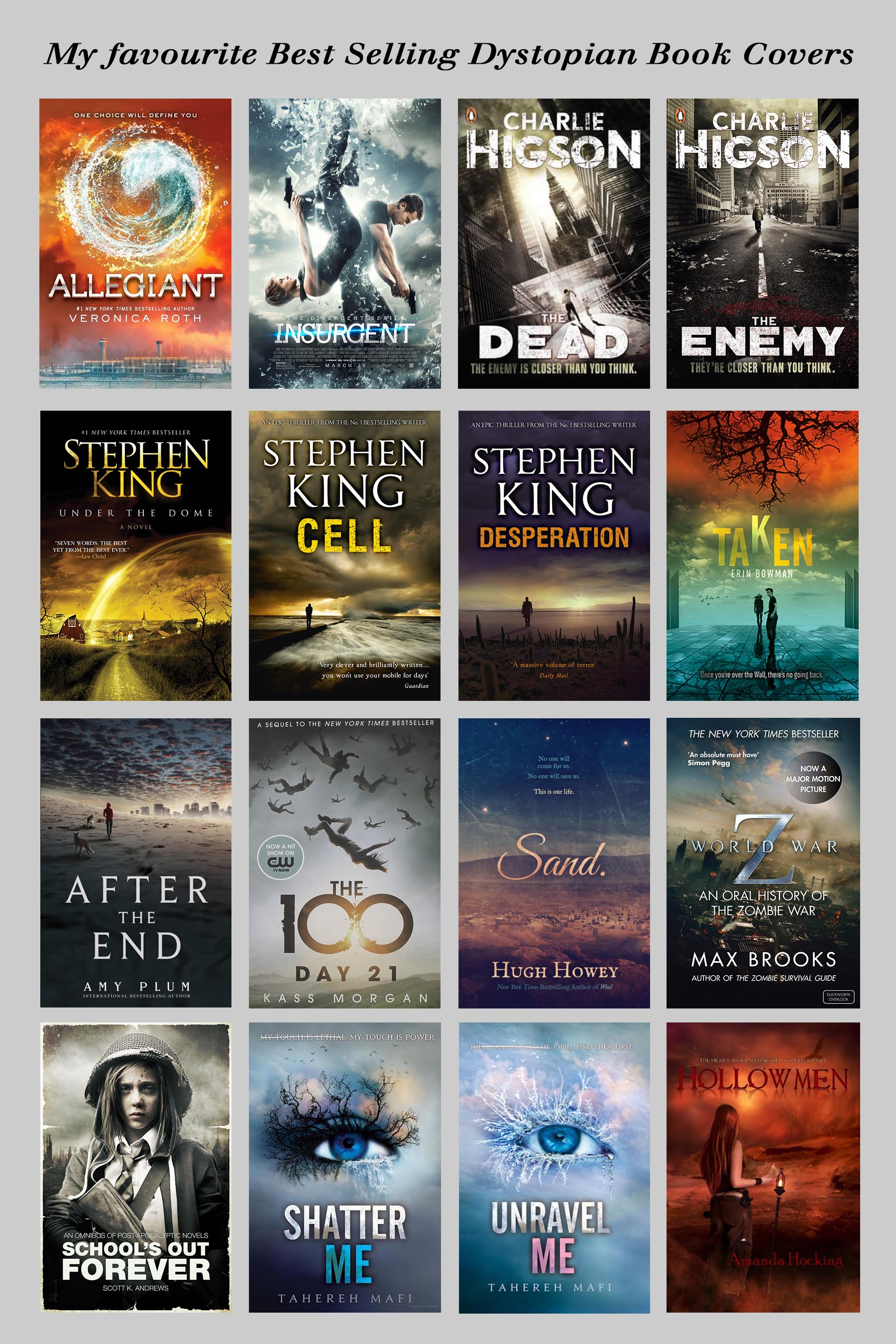 collection of dystopian style book covers