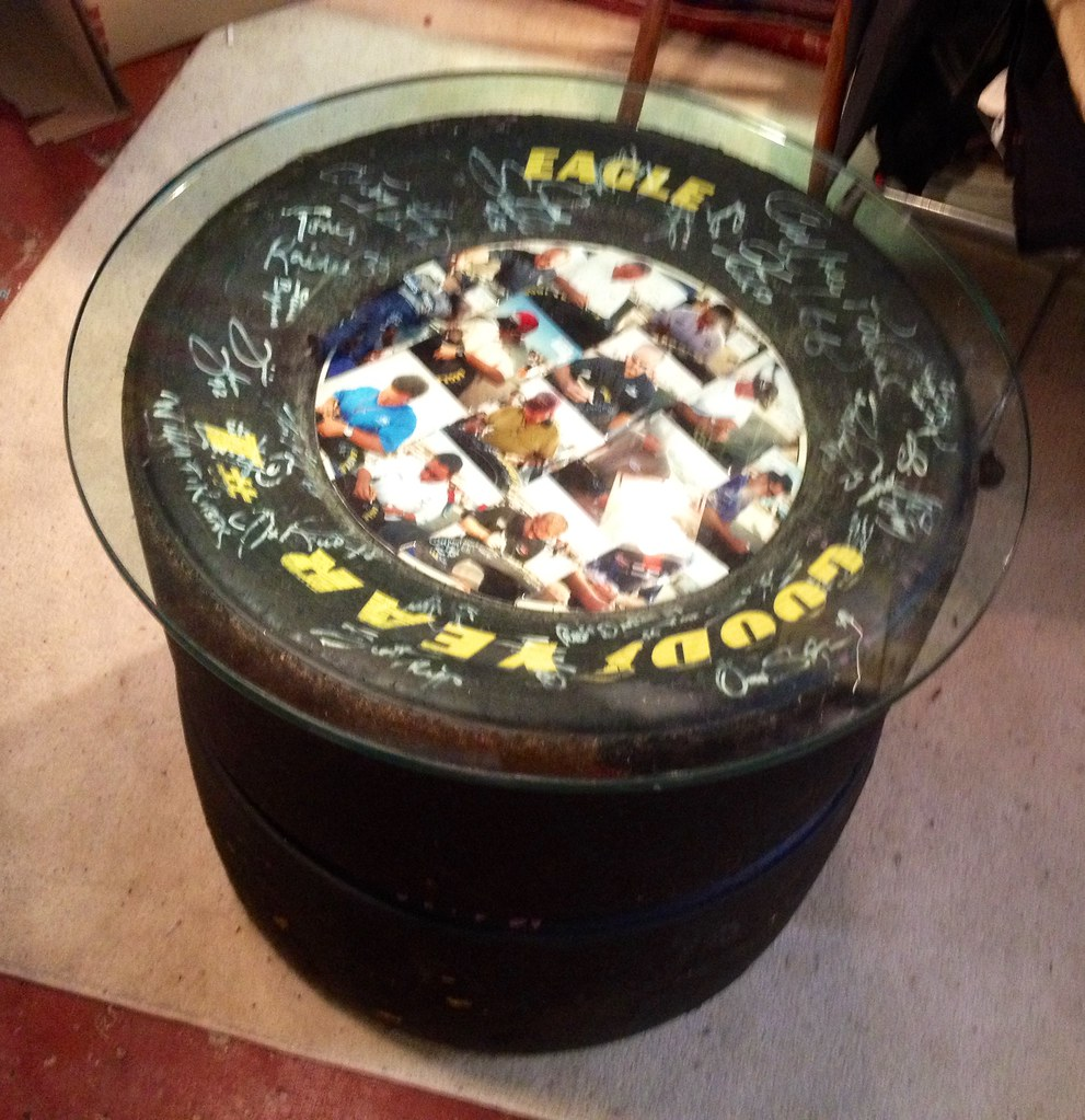 an picture proof autographed nascar tire table by jimmie j flickr. Black Bedroom Furniture Sets. Home Design Ideas