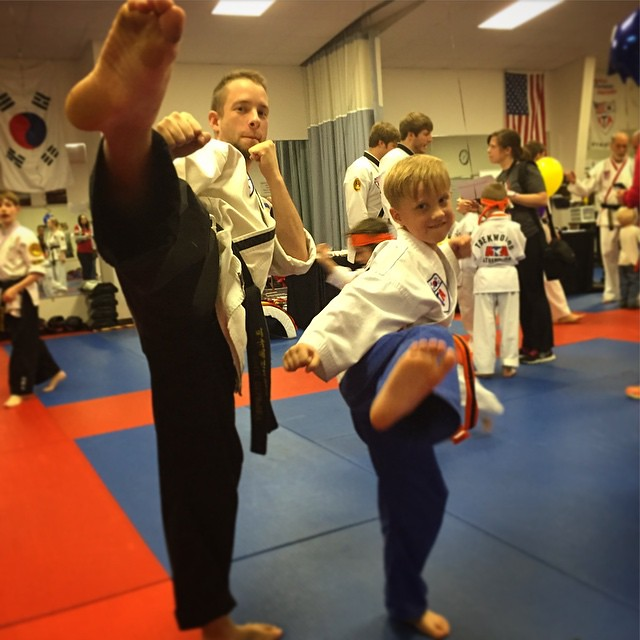 Caleb graduated from Tiny Tigers to Karate Kids tonight. H ...