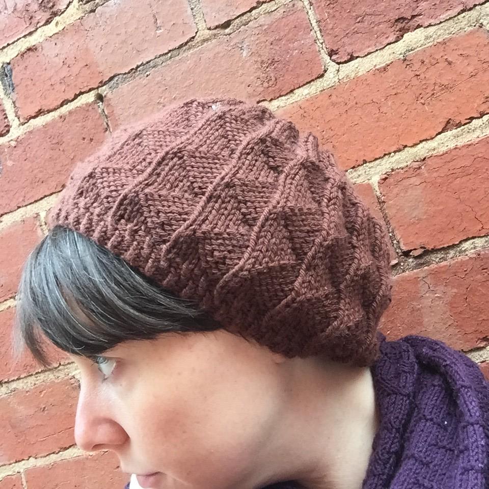 terzetto beanie knit in an unknown brown yarn