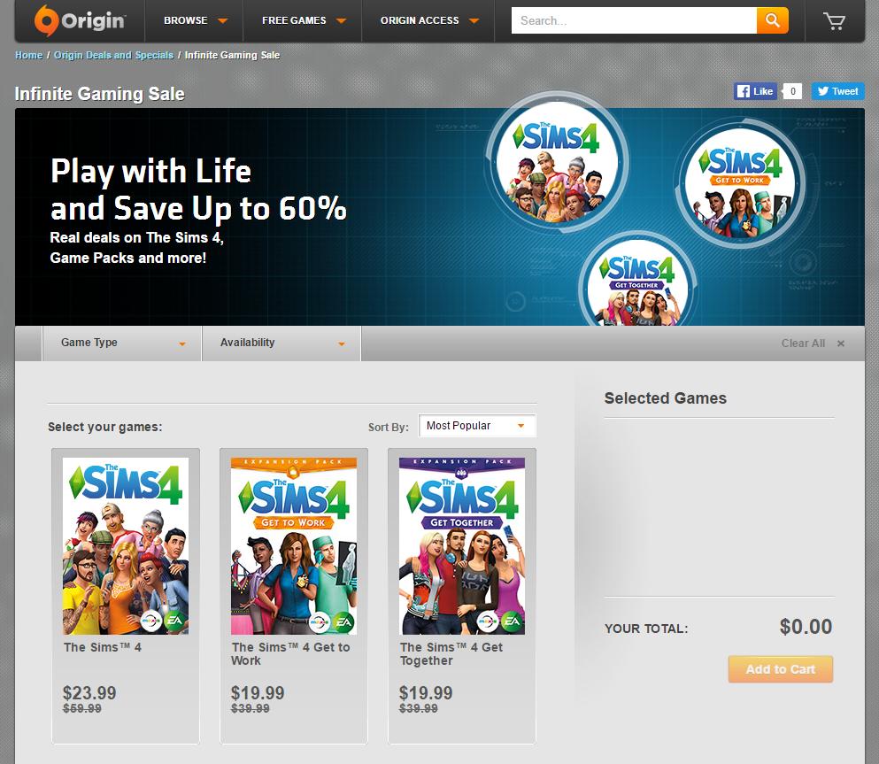 Origin Sims Sale