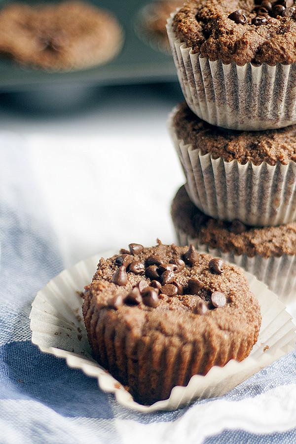 healthier gluten free chocolate muffins
