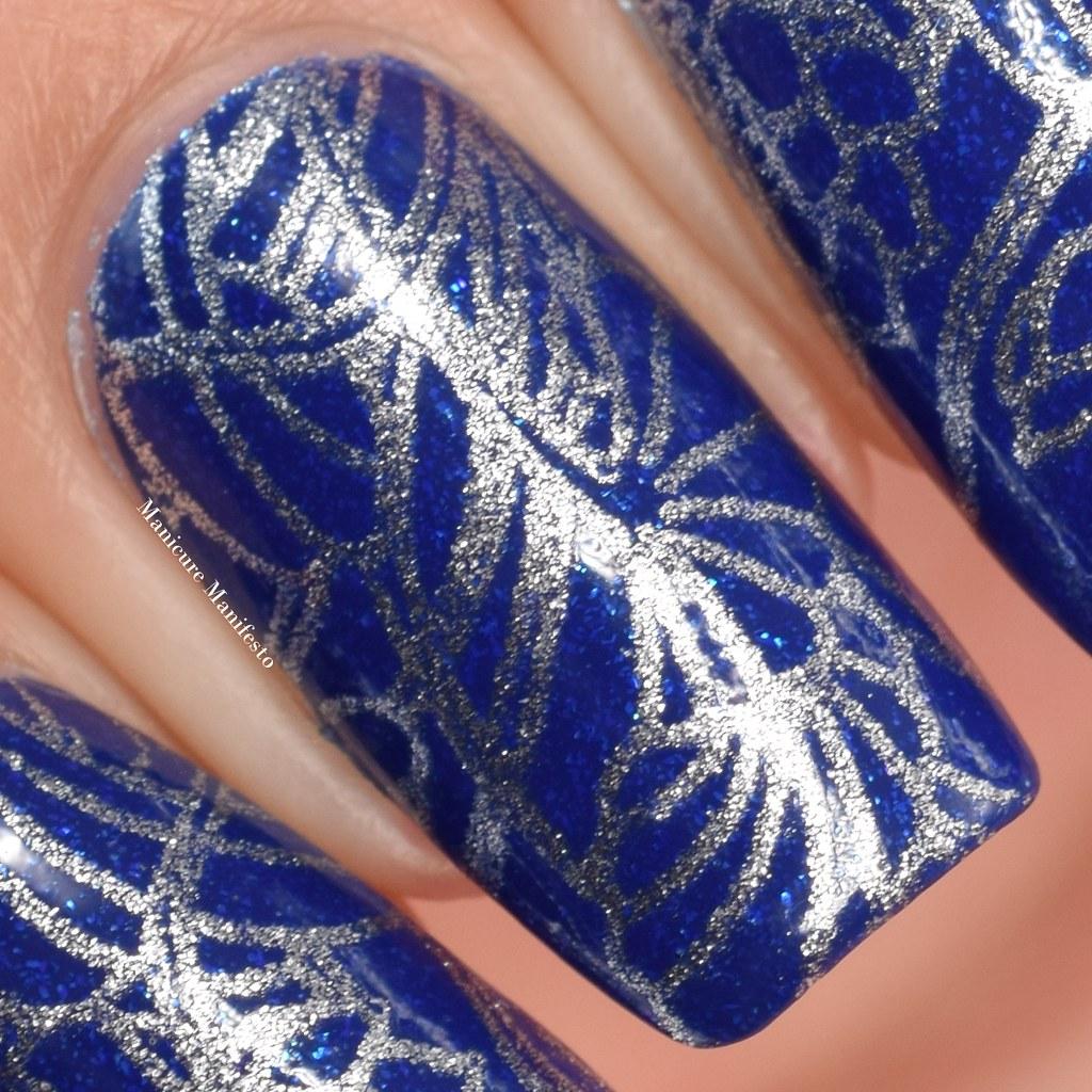 Floral nail stamping nail art