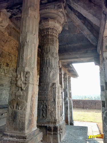 Beautifully carved pillars of Chaturmukha Basadi of Karkala, Udupi district, Karnataka, India