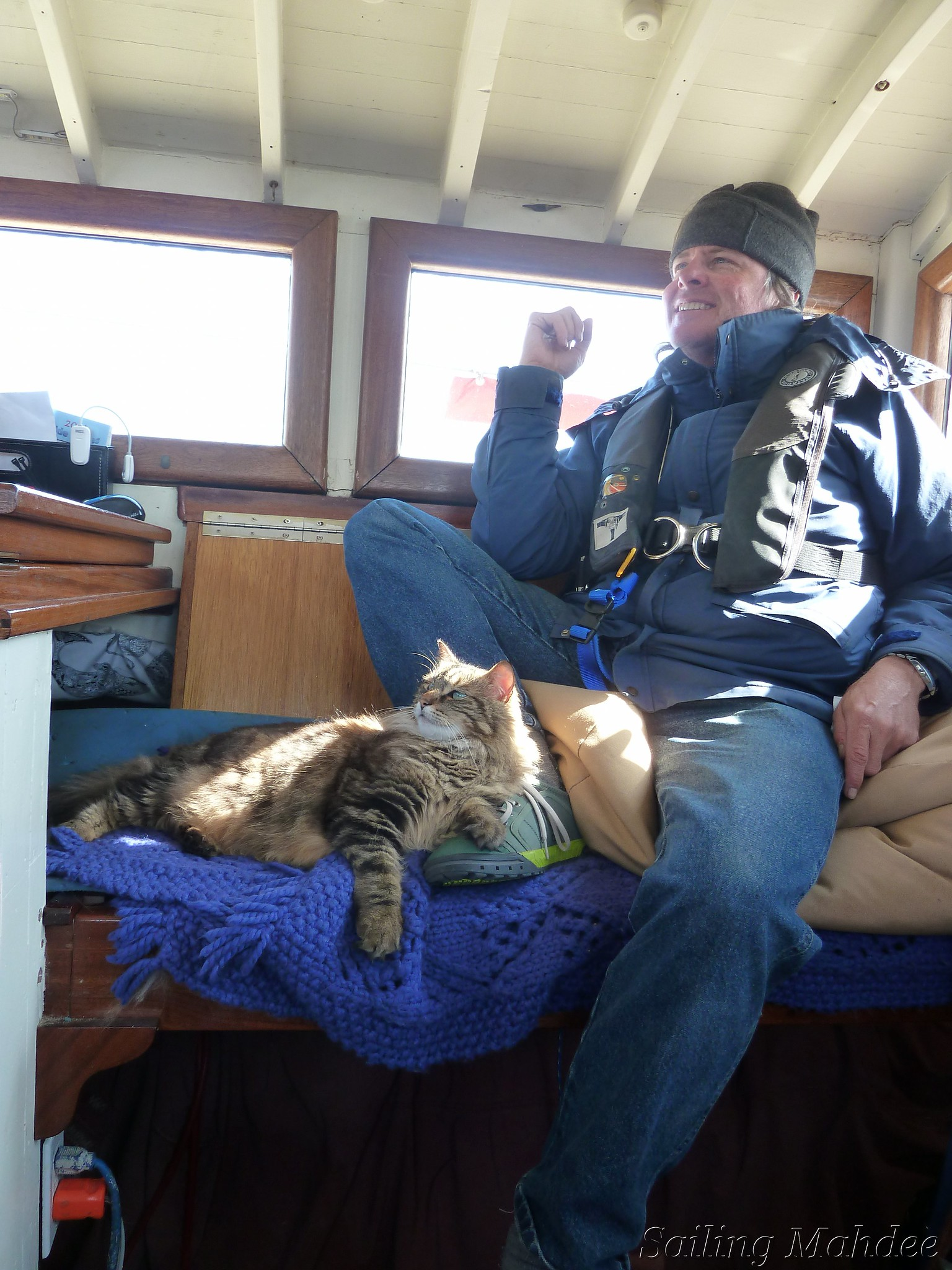 Beryl the Ship's Cat with David on Watch