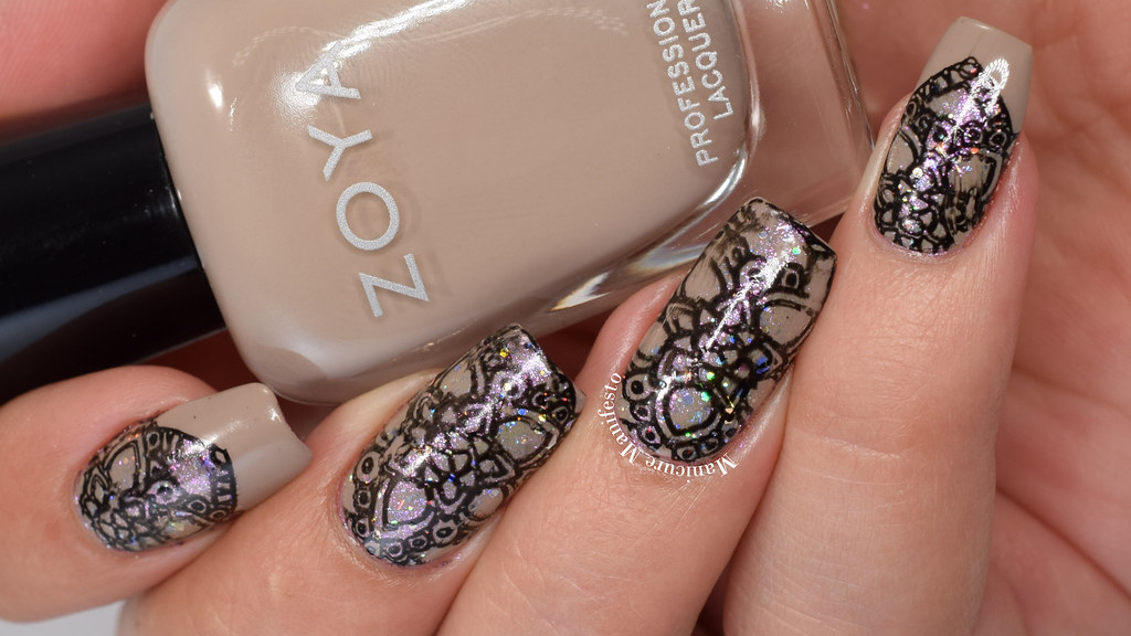 Manicure Manifesto Shimmering Black And Nude Stamped Nail Art