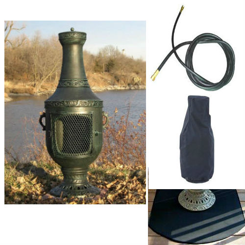QBC Bundled Blue Rooster Venetian Chiminea with Propane Gas Kit, Half Round Flexbile Fire Resistent Chiminea Pads, 20 ft Gas line, and Free Cov Antique Green Color - Plus Free QBC Metal Chiminea Guide