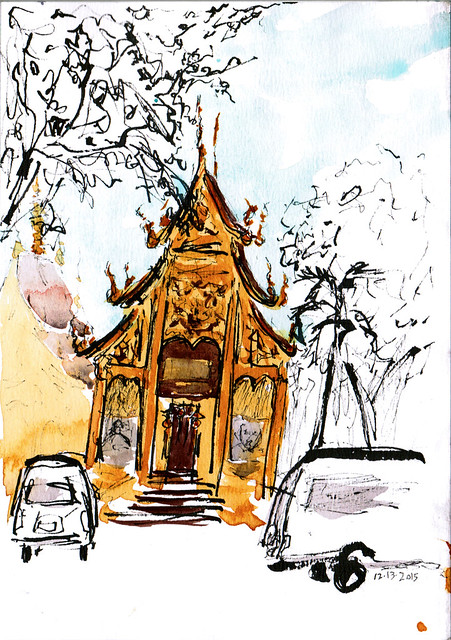 An ink and watercolor sketch of Wat Fa Ham