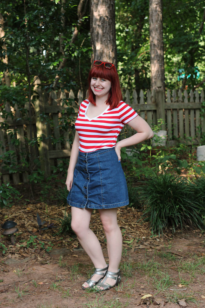 Patriotic Summer Outfit Red Striped Shirt Blue Denim Button Down Skirt Silver Sandals