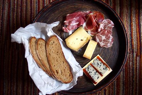 sourdough bread from Poilane, cheese from Laurent Dubois, chacuterie. Paris, France