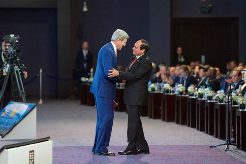 President al-Sisi Thanks Secretary Kerry After he Addresses Audience of Several Thousand Attending Egyptian Development Conference in Sharm el-Sheikh