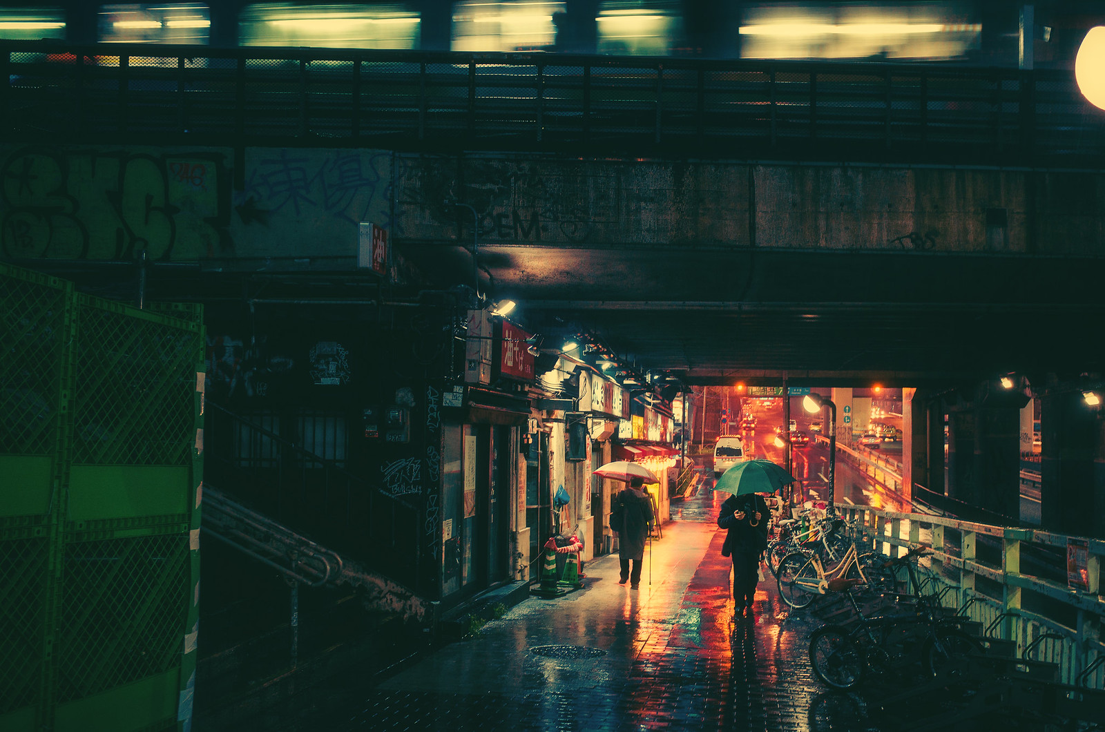 green umbrella underpass