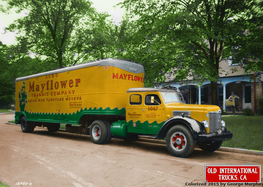 1948 international kb 8 moving truck colorized b w photo for Mayflower car shipping