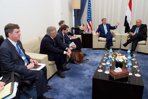 Secretary Kerry Along With Deputy Assistant Secretary Desrocher, Ambassador Beecroft, Senior Adviser Thorne, and Chief of Staff Finer Sit With Egyptian Foreign Minister Shoukry