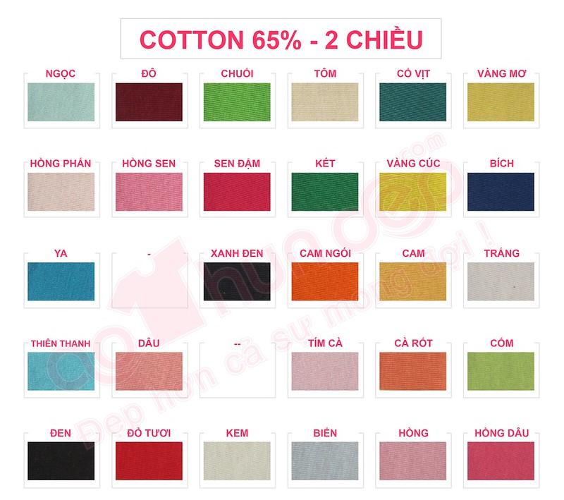 Bảng màu vải áo thun cotton 65% 2 chiều