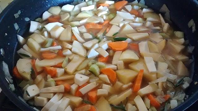 simmering vegetables