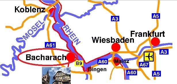 Mapa de Bacharach en Alemania