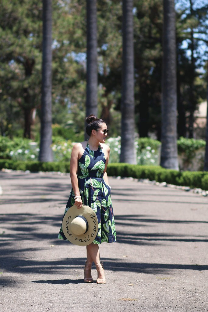 simplyxclassic, miriam gin, ann taylor palm print dress, halter dress, summer, loft top, floppy hat, fashion blogger, lifestyle, orange county, travel blogger in orange county