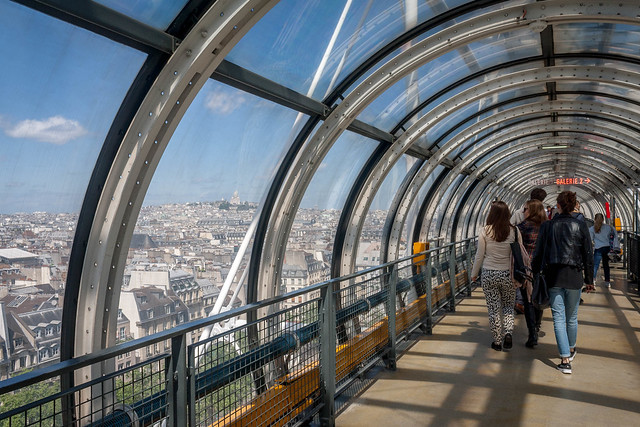 Sky-high lookout at the top of Centre Pompidou, Paris