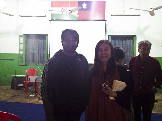 Indrajit Das with Director of Film Border to Boreder in Choon Yee Thong church in Tiretta Bazar, Kolkata, India
